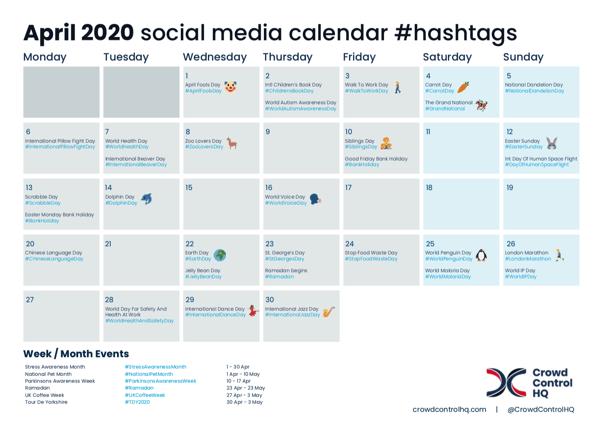 April 2020 Social Media Calendar Image