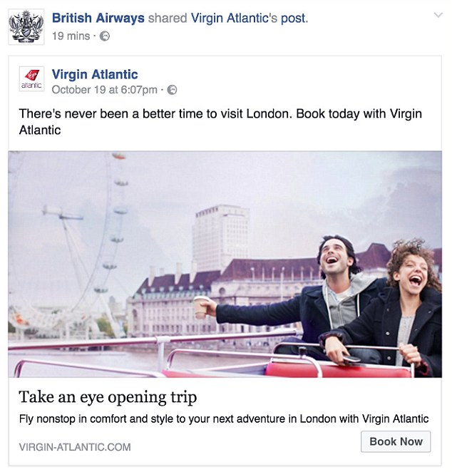 British Airways Virgin Atlantic Facebook Post