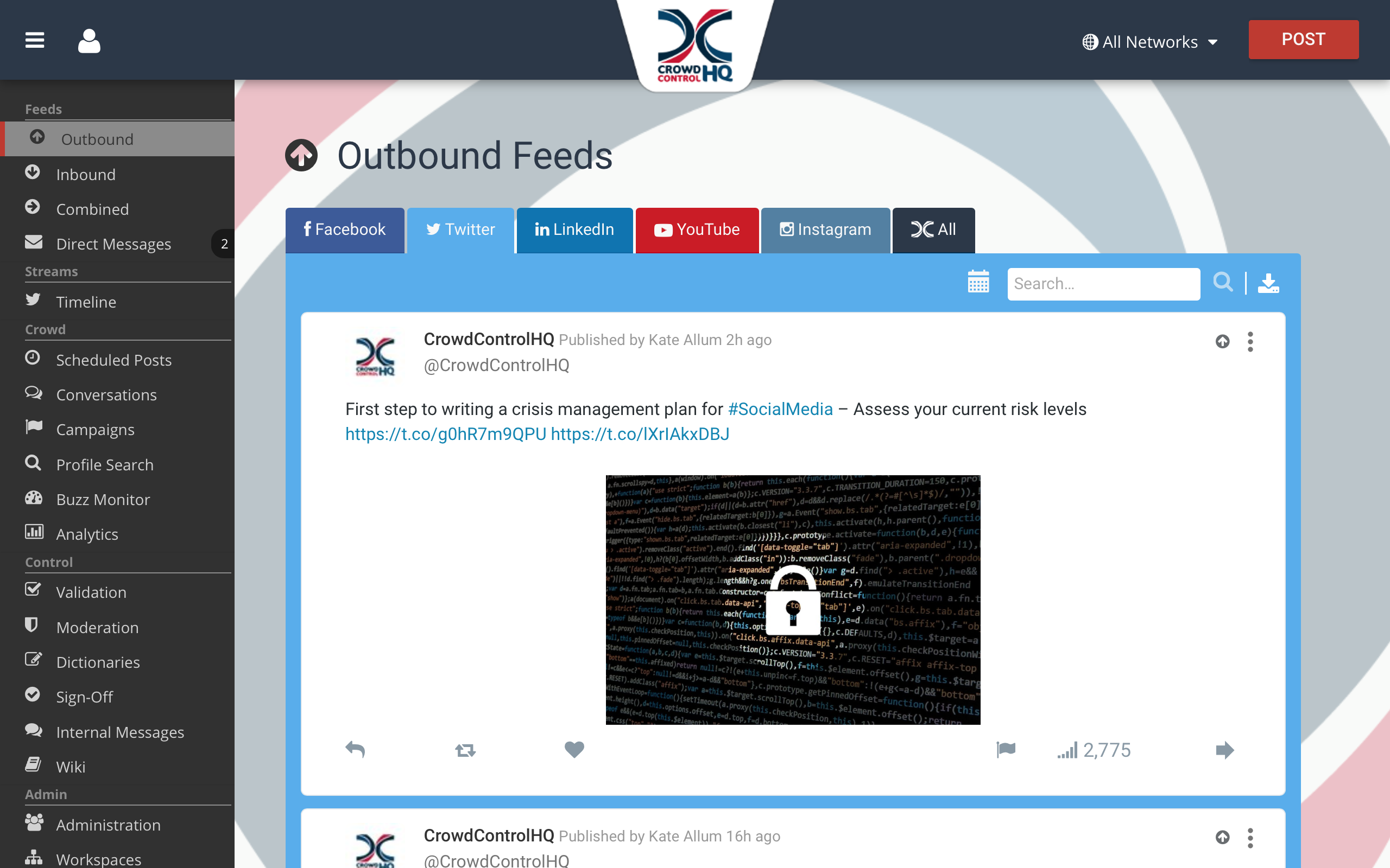 Multiple Social Media Account Management using CrowdControlHQ