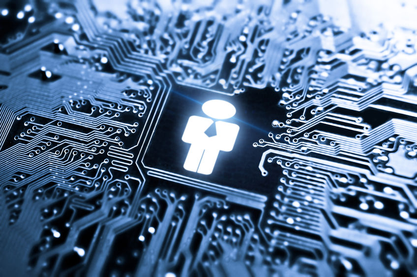 28274997 - businessman symbol on computer circuit board - it human resources