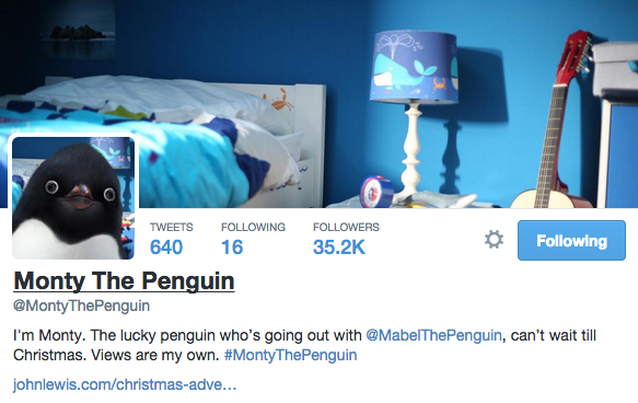 Monty  The Penguin (John Lewis) Twitter Profile