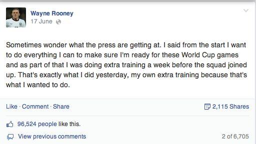 Rooney Facebook Post