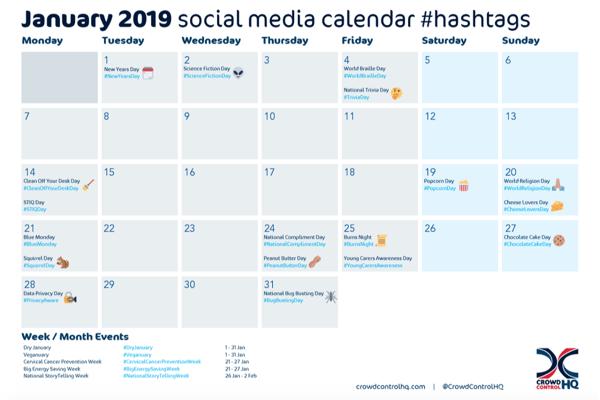 January 2019 social media calendar image