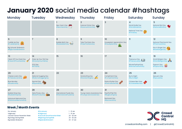 January 2020 social media calendar