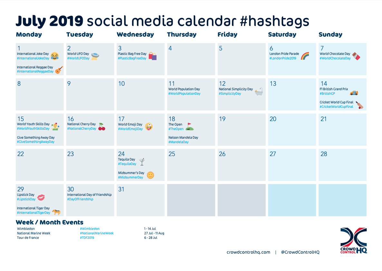 July 2019 social media calendar thumbnail