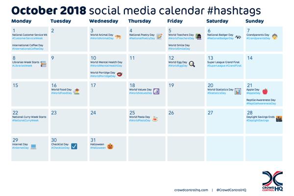 October 2018 social media ideas calendar