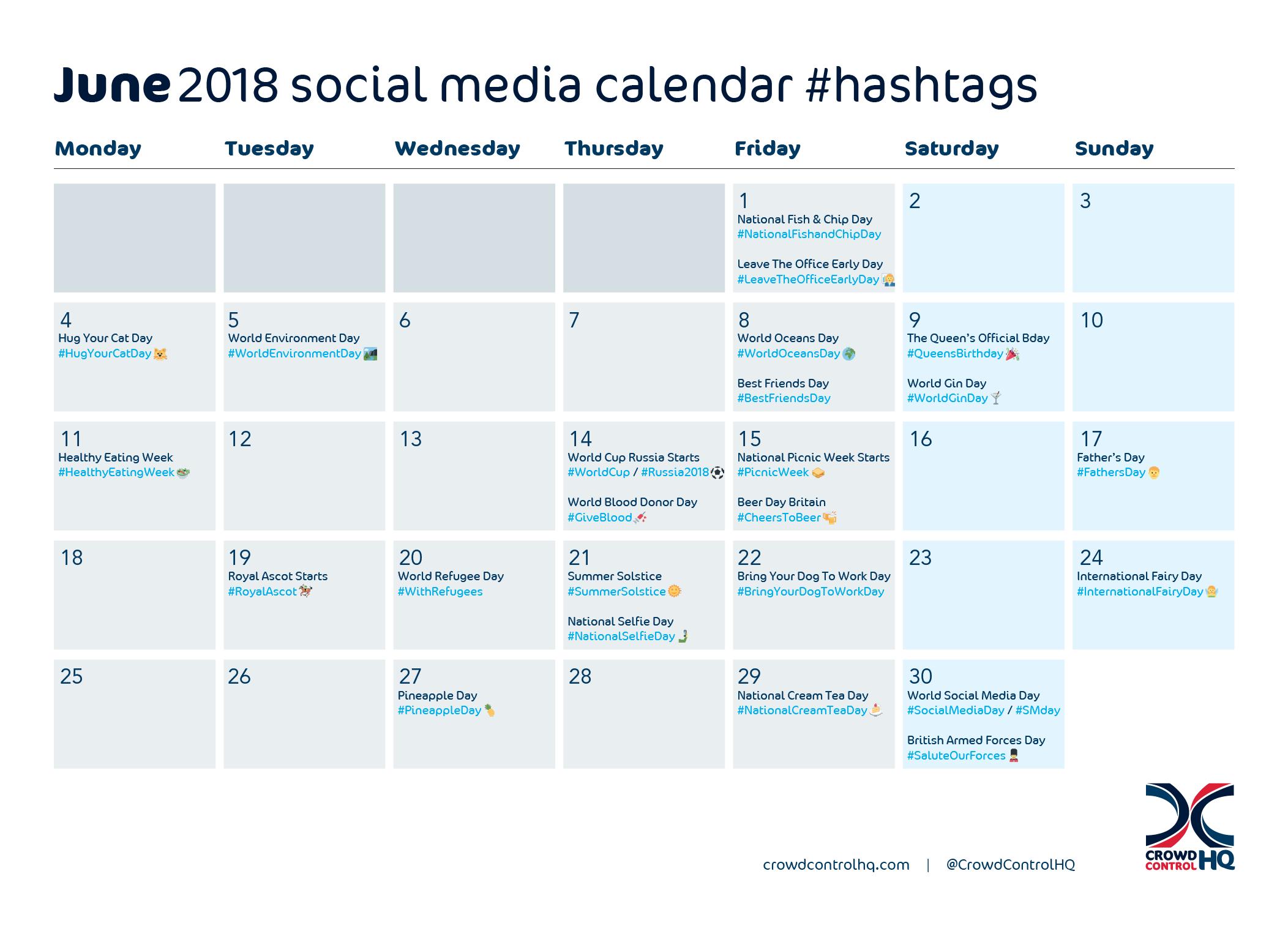 June 2018 Social Media Calendar