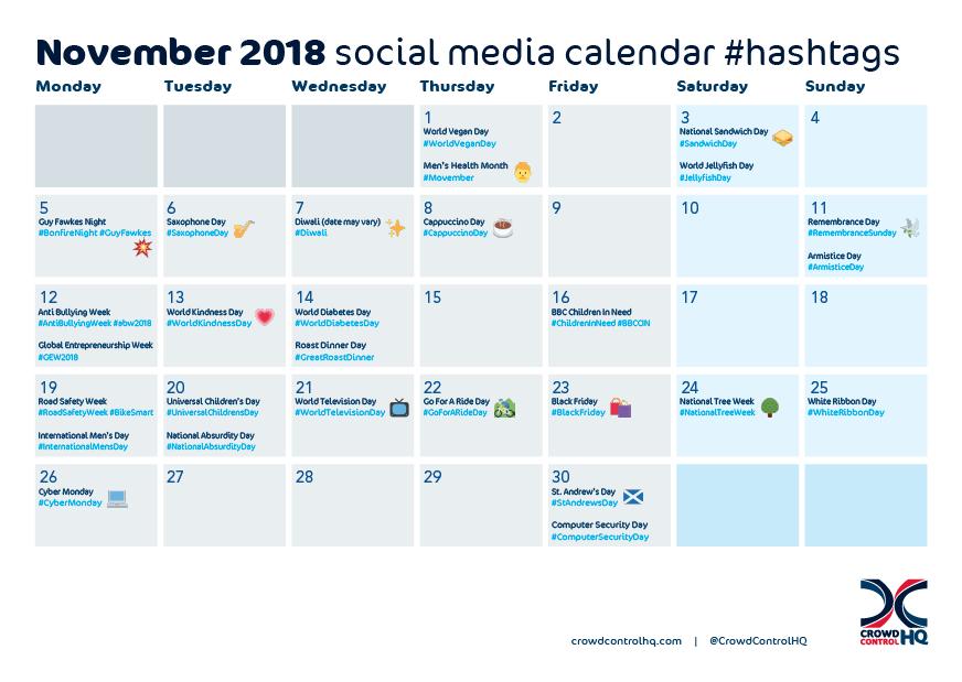 November 2018 social media content and event calendar