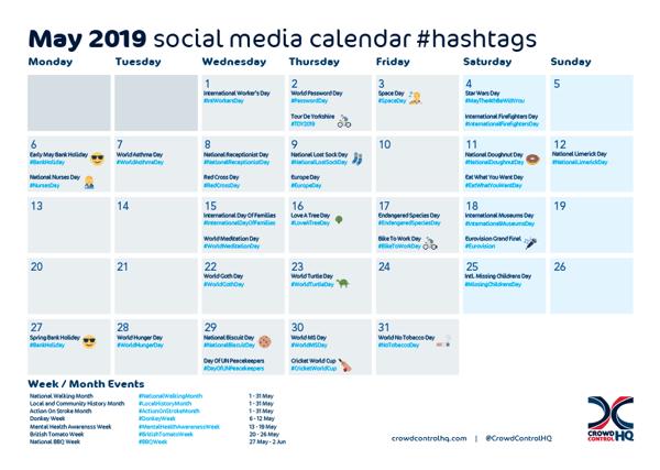 May 2019 social media calendar hashtags