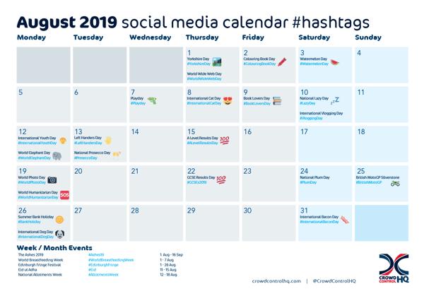 August 2019 social media calendar hashtag ideas