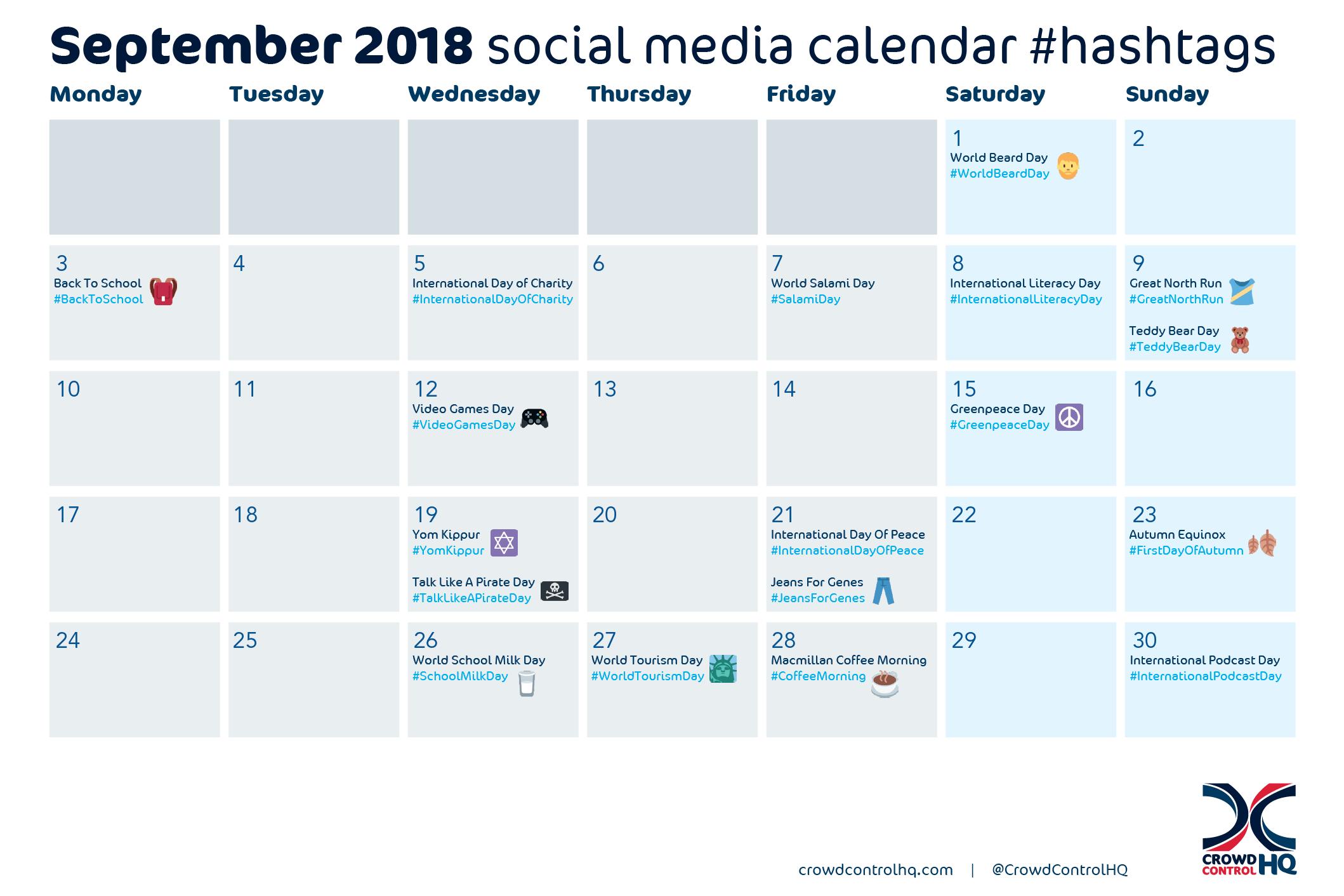September 2018 Social Media Calendar Content Hashtag Ideas